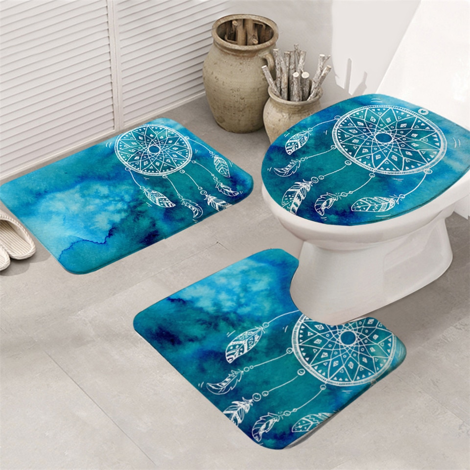 Dream Catcher Printed Bath Mats 3 Pcs Set